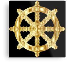 Gold Dharma Wheel Metal Print
