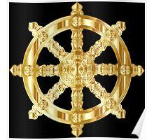 Gold Dharma Wheel Poster