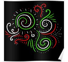 Holiday Swirl : Christmas Winter Abstract Design Poster