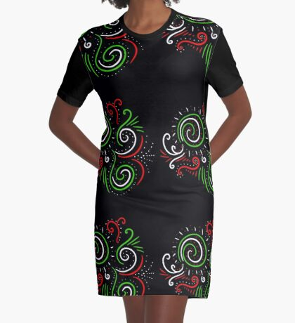 Holiday Swirl : Christmas Winter Abstract Design Graphic T-Shirt Dress