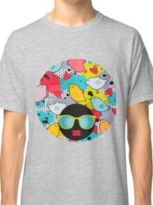 Birds and hearts and colorful blur Classic T-Shirt