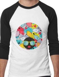 Birds and hearts and colorful blur Men's Baseball ¾ T-Shirt