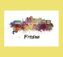 Fresno V2 skyline in watercolor One Piece - Short Sleeve