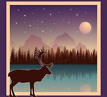 Deer and a Secluded Forest Night by tnmgraphics