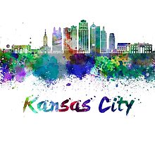 Kansas City V2  skyline in watercolor by paulrommer