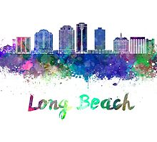 Long Beach V2 skyline in watercolor by paulrommer