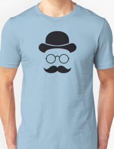 Retro /Minimal vintage face with Moustache & Glasses Unisex T-Shirt