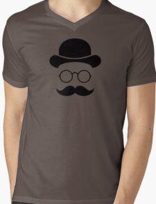 Retro /Minimal vintage face with Moustache & Glasses Mens V-Neck T-Shirt