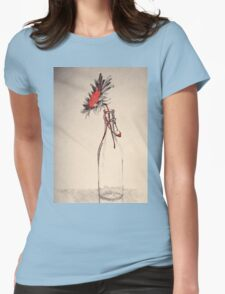 Colorful gentle drawing of flower in a glass bottle Womens Fitted T-Shirt