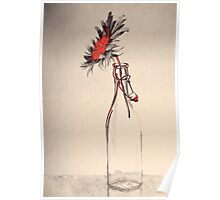 Colorful gentle drawing of flower in a glass bottle Poster