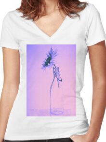 Colorful gentle drawing of flower in a glass bottle Women's Fitted V-Neck T-Shirt