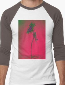 Colorful gentle drawing of flower in a glass bottle Men's Baseball ¾ T-Shirt