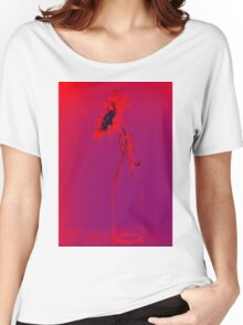 Colorful gentle drawing of flower in a glass bottle Women's Relaxed Fit T-Shirt