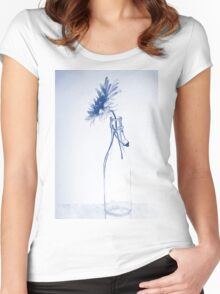 Colorful gentle drawing of flower in a glass bottle Women's Fitted Scoop T-Shirt