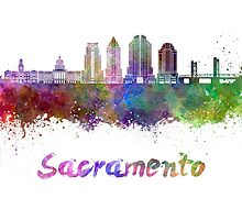 Sacramento V2 skyline in watercolor by paulrommer