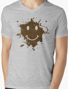 Vintage Mud Smiley Mens V-Neck T-Shirt