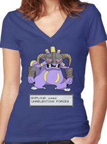 EXPLOUD used UNRELENTING FORCE! Women's Fitted V-Neck T-Shirt