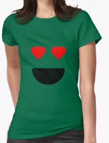 Smiley Heart Eyes Womens Fitted T-Shirt