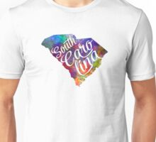 South Carolina US State in watercolor text cut out Unisex T-Shirt
