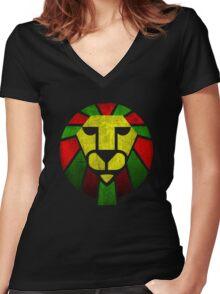 Reggae Rasta Lion. Women's Fitted V-Neck T-Shirt