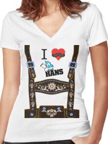 Lederhosen - Brown Women's Fitted V-Neck T-Shirt