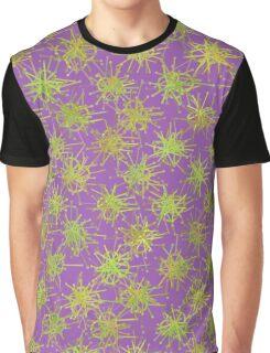 Green Splats On Purple Graphic T-Shirt