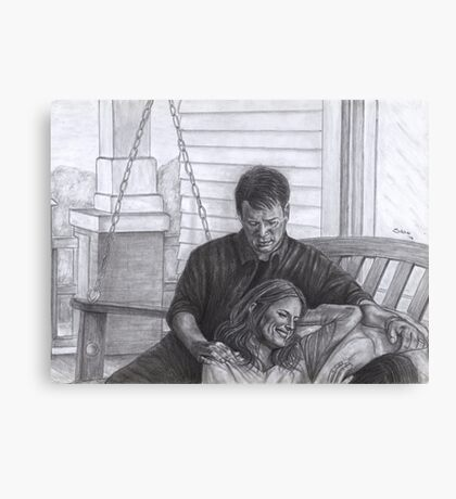 Castle and Beckett - Relax on the porch swing Canvas Print