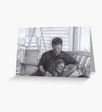 Castle and Beckett - Relax on the porch swing Greeting Card