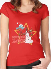 Christmas Snowman Women's Fitted Scoop T-Shirt