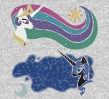 Princess Celestia and Nightmare Moon by vaguelygenius