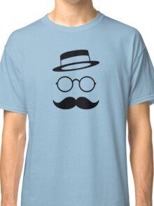Retro / Minimal vintage face with Moustache & Glasses Classic T-Shirt