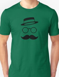 Retro / Minimal vintage face with Moustache & Glasses Unisex T-Shirt