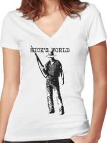 Mick's World Women's Fitted V-Neck T-Shirt