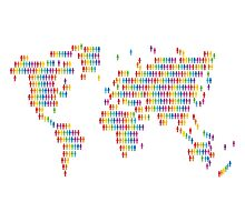 World with colored human icons Photographic Print