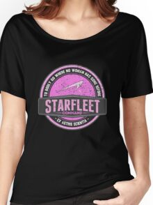"""Starfleet Retro """"Where no woman has gone before"""" Women's Relaxed Fit T-Shirt"""