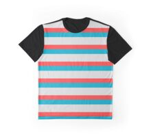 Blue and Orange Stripey Lines Effects Graphic T-Shirt