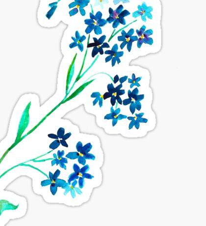 Watercolor blue flower. Sticker