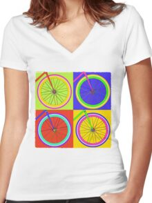 Fixie Pop  Women's Fitted V-Neck T-Shirt