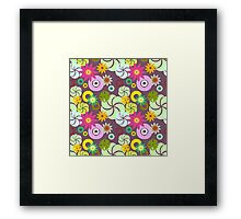 Colorful Shapes and Flowers Pattern Framed Print