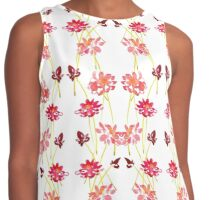 Watercolor red flowers Contrast Tank