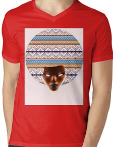 AFRO_Orange & Blue_Redux Mens V-Neck T-Shirt