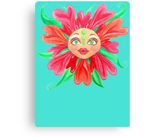 Flower with a Matryoshka Doll Face Canvas Print