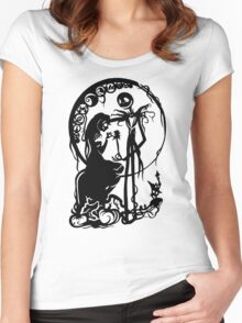Nightmare Before Christmas - Black On White Women's Fitted Scoop T-Shirt