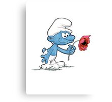 Smurf Holding Flower Canvas Print