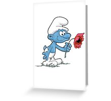 Smurf Holding Flower Greeting Card