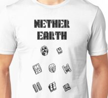 Nether Earth robot parts with title Unisex T-Shirt