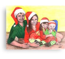 Caskett family at Christmas Metal Print
