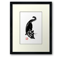 stetching cat Framed Print