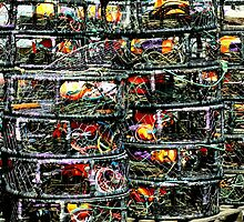 Crab Traps and Marker Buoys by Bob Wall