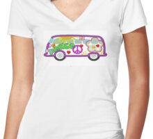 Hippie Bus 60's style Women's Fitted V-Neck T-Shirt